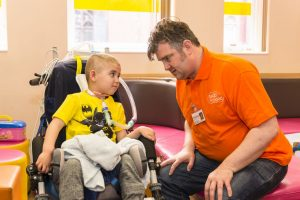 Storyteller Steve Lally with patient