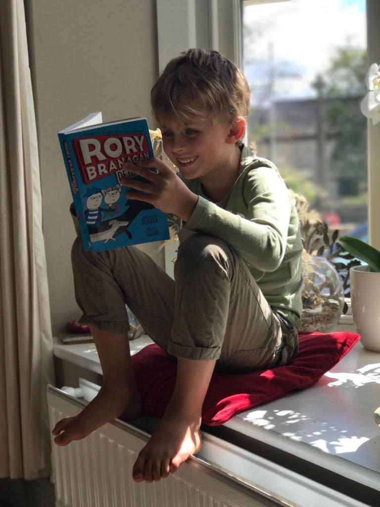 Toby reading Rory Branagan